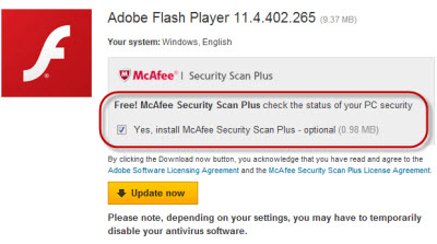 Adobe Flash Player предлагает установить McAfee Security Scan Plus