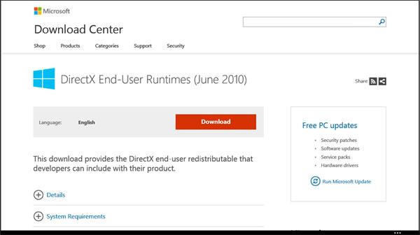 Установка DirectX End-User Runtimes